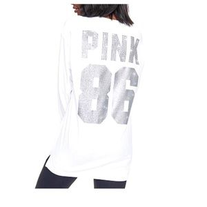 VS Pink Long Sleeve White Silver Bling 86 Campus